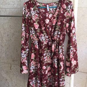 Maroon floral dress by Xhilaration size M